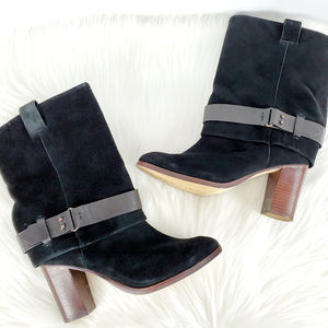 Splendid Mid Calf Suede Slouchy Boots W Buckle